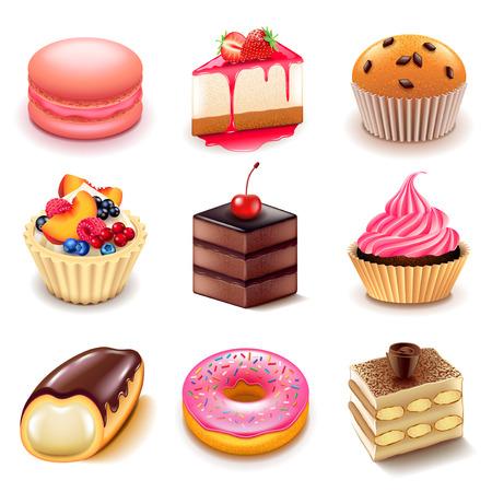 Ciasta ikony szczegółowe zdjęcie realistyczne wektor zestawu