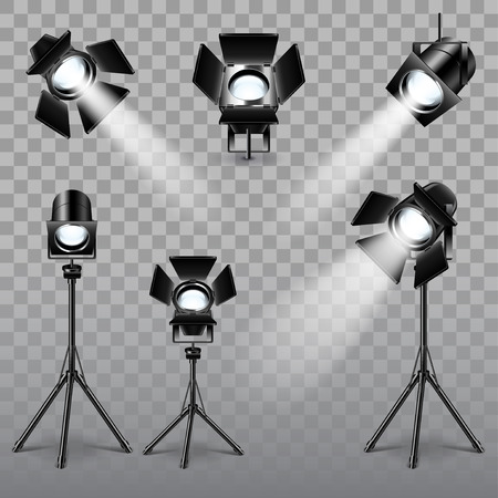 Realistic spotlight set on transparent background vector.