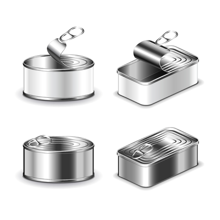 tin packaging: Tin can set isolated on white photo-realistic vector illustration.