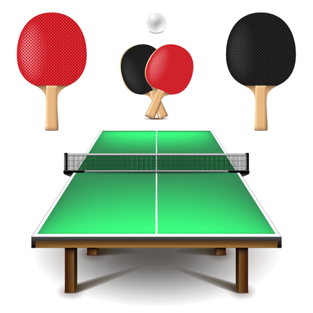 sports activity: Table tennis set isolated on white photo-realistic vector illustration. Illustration