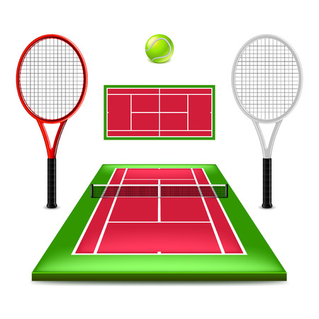 Tennis court set isolated on white photo-realistic vector illustration. Illustration