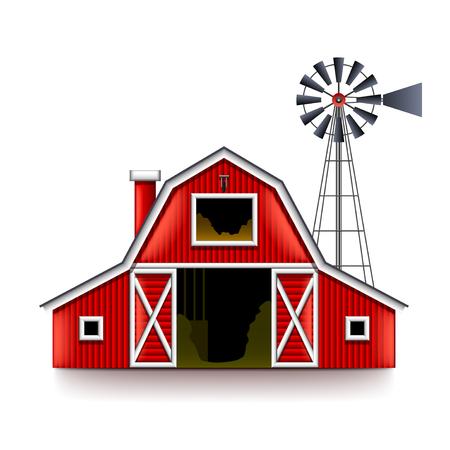 전통적인 미국의 빨간 농장 집 고립 된 현실적인 벡터 일러스트 레이션