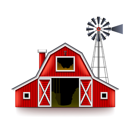 Traditional American Red Farm House Isolated Realistic Vector Illustration