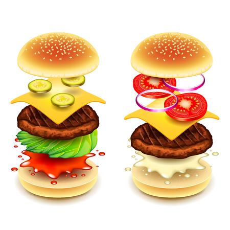 Capas de hamburguesa de Sandwich aisladas en blanco ilustración vectorial fotorrealista Ilustración de vector