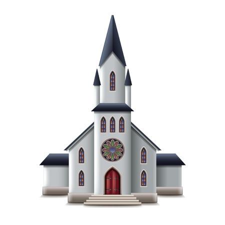 Église catholique isolée sur blanc photo-réaliste illustration vectorielle