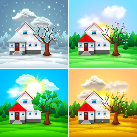 House and nature four seasons photo-realistic vector illustration Vettoriali