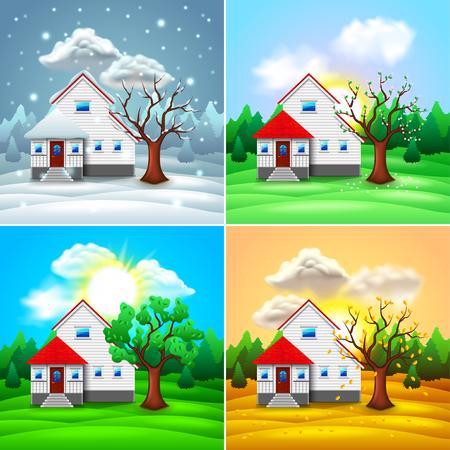 Casa y naturaleza cuatro estaciones ilustración vectorial foto-realista Ilustración de vector