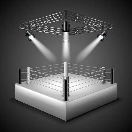 Boxeo anillo de fondo foto realista ilustración vectorial