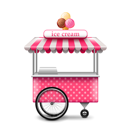 Ice cream cart isolated on white photo-realistic vector illustration Illustration