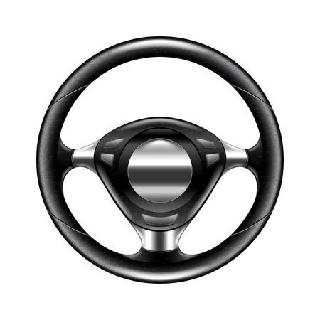 silver: Steering wheel isolated on white photo-realistic vector illustration