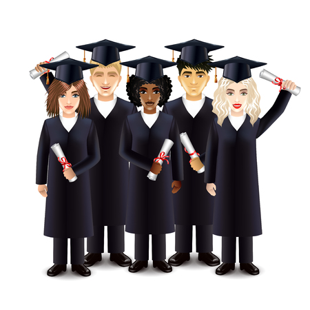 photorealistic: Happy students with diplomas isolated vector illustration