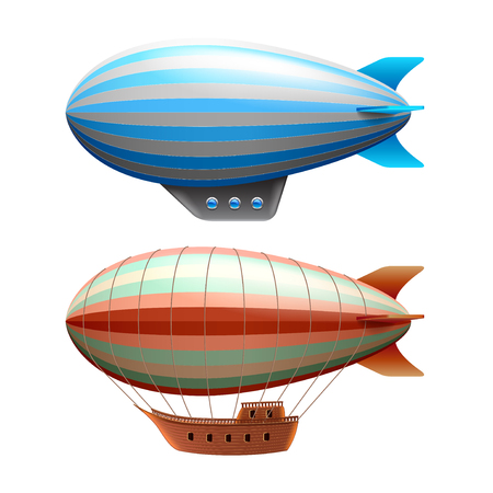Airship isolated on white photo-realistic vector illustration