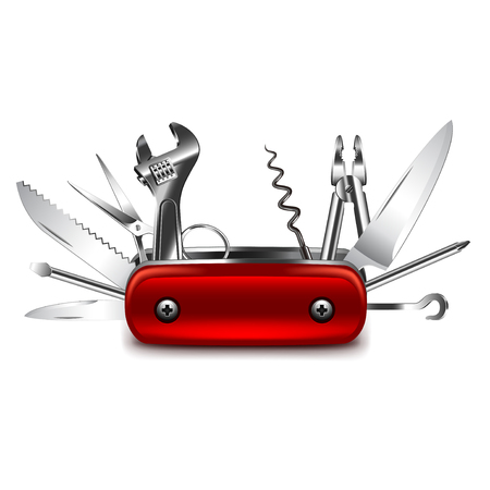 Swiss knife isolated on white photo-realistic vector illustration