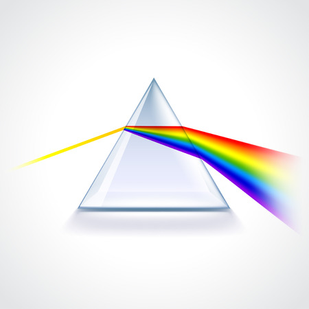 Spectrum prism isolated on white photo-realistic vector illustration