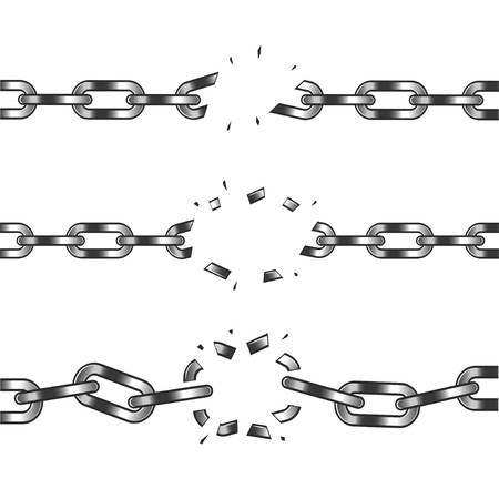 Broken chain isolated on white realistic vector illustration