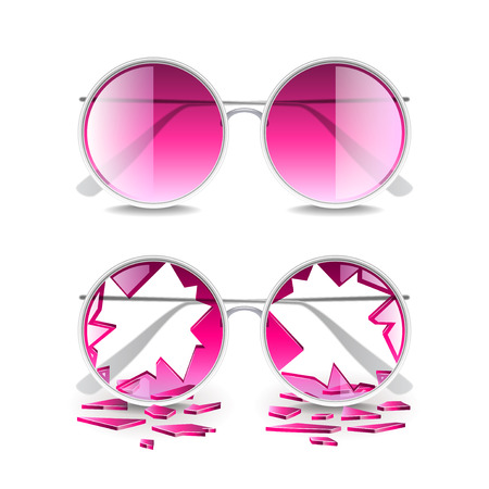Broken pink glasses isolated on white photo-realistic vector illustration