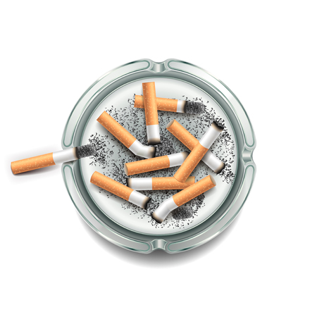 habit: Ashtray with cigarettes isolated on white photo-realistic vector illustration