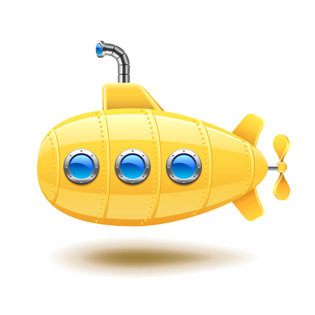 Submarine isolated on white photo-realistic vector illustration