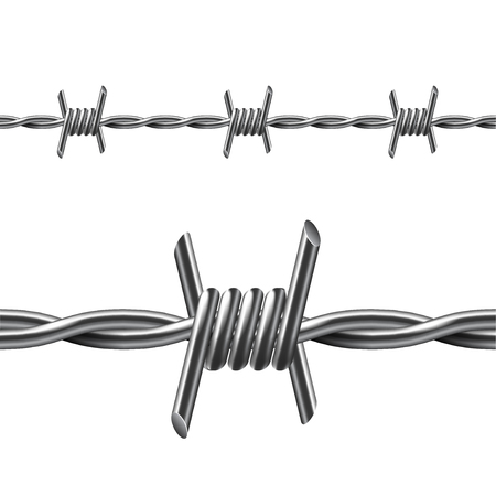 Seamless barbed wire isolated on white photo-realistic vector illustration