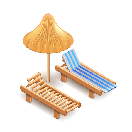 lounge chair: Beach umbrella and deck chair isolated on white photo-realistic vector illustration