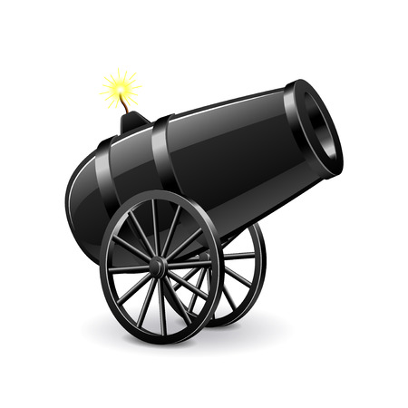 Cannon isolated on white photo-realistic vector illustration Çizim