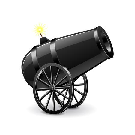 Cannon isolated on white photo-realistic vector illustration Stock Illustratie
