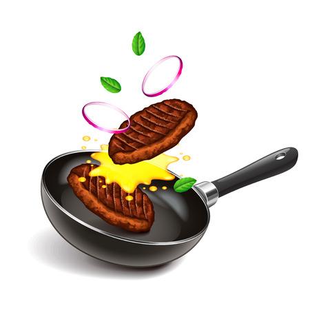 Bradende lapjes vlees op pan geïsoleerde fotorealistische vectorillustratie Stock Illustratie