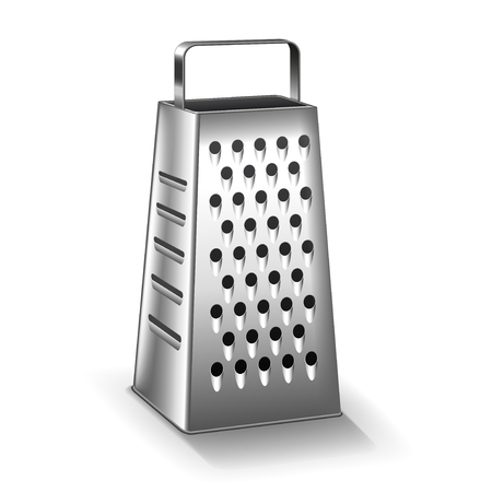 Grater isolated on white photo-realistic vector illustration Illustration