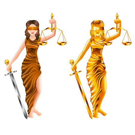 lady scales of justice isolated on white vector illustration Illustration