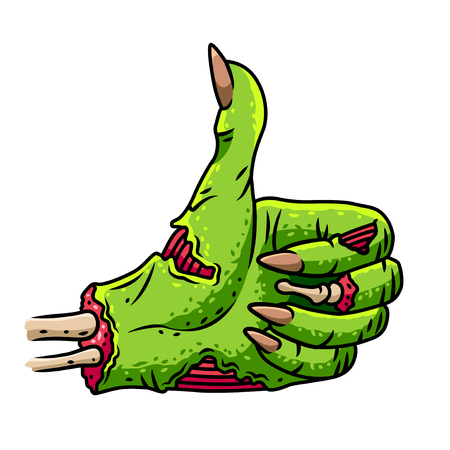zombie hand thumbs up isolated on white cartoon vector illustration
