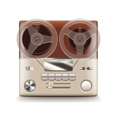 volume control: reel recorder isolated on white photo-realistic vector illustration