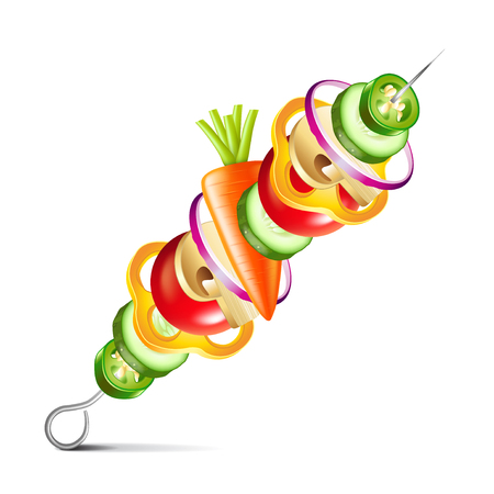 grilled vegetables vegan kebab isolated on white photo-realistic vector illustration