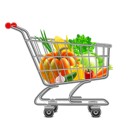 vegetables in supermarket cart isolated photo-realistic vector illustration Çizim