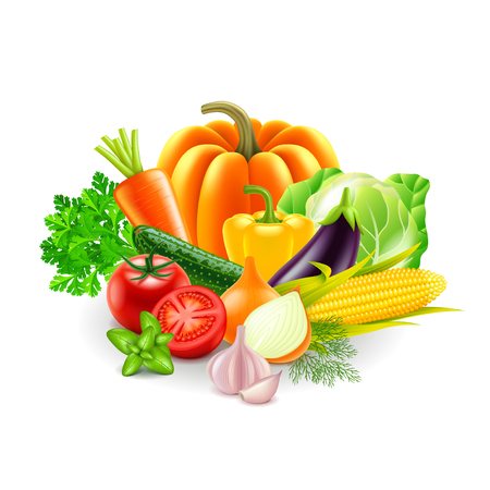vegetables on white background photo-realistic vector illustration