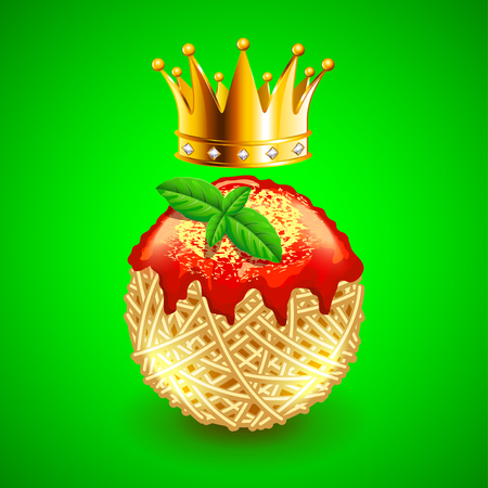 Italian spaghetti clew with crown over it on green background. Realistic vector background Illustration