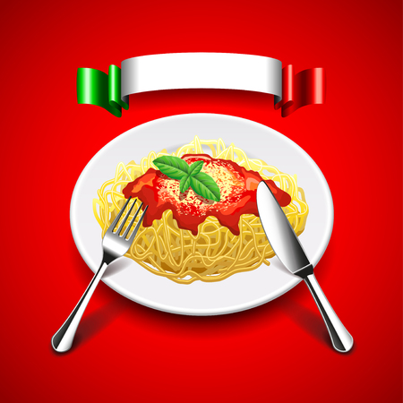 Spaghetti in plate with cutlery and Italian flag  on red background. Realistic vector
