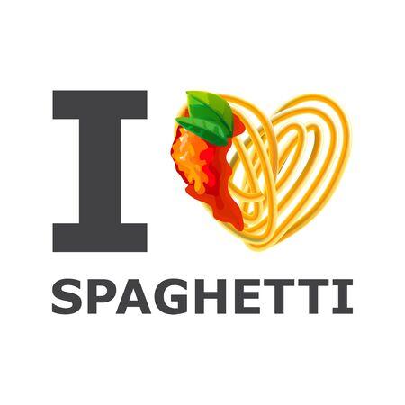 i love spaghetti design isolated photo-realistic vector illustration