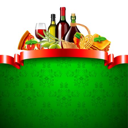 Nourriture italienne avec ruban rouge et vert fond photo réaliste vector Banque d'images - 91001760