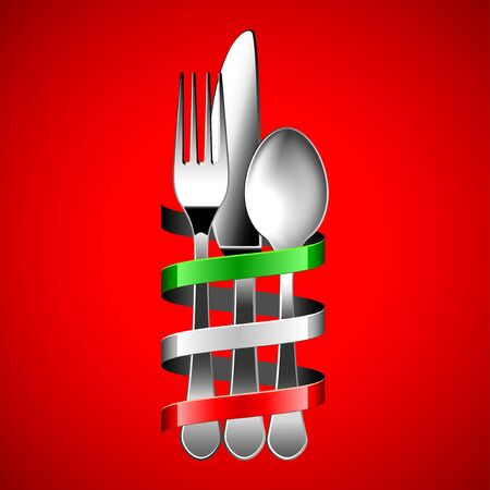 silver cutlery and italian flag ribbon around it on red background photo realistic vector  イラスト・ベクター素材