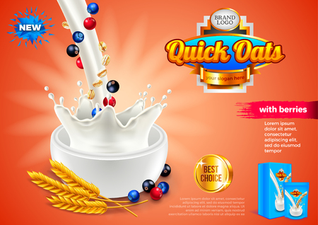Oatmeal ads. Pouring milk and berries. 3d illustration and packaging