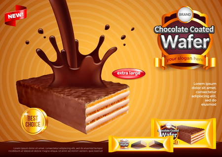 Wafer with pouring chocolate ads. 3d illustration and packaging