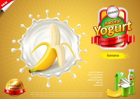 Yogurt ads. Banana in milk splash. 3d illustration and packaging