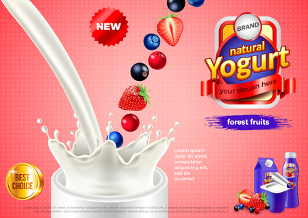 Yogurt advertisement. Pouring milk and forest fruits. 3d illustration and packaging