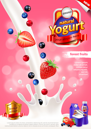 Yogurt advertisement. Pouring milk and forest fruits. Vertical 3d illustration and packaging