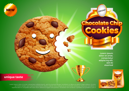 Chocolate chip cookies ads. 3d illustration and packaging Vector illustration.