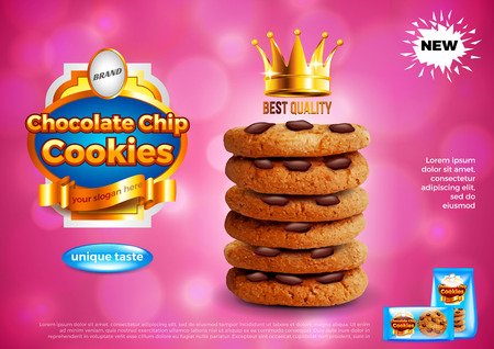 Chocolate chip cookies ads. Realistic vector background. 3d illustration and packaging. Vettoriali