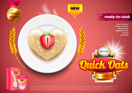Oatmeal ads. Oats on plate with strawberry. 3d illustration and packaging.