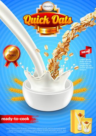 Annunci di farina d'avena, sfondo verticale versando latte e avena. Illustrazione 3D e confezione