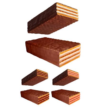 Chocolate coated wafer photo realistic vector set Illustration