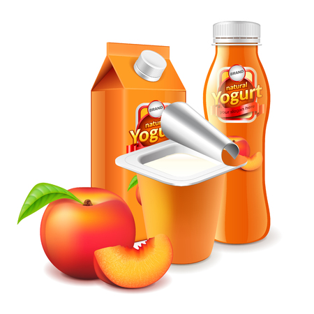 Peach yogurt packaging box bottle and cup 3d photo realistic vector Illustration